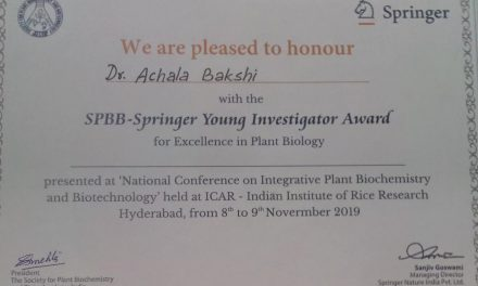 Dr. Achala Bakshi awarded Springer SPBB- Young Investigator Award