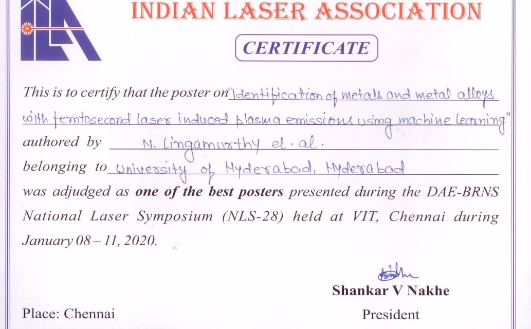 N. Linga Murthy receives the Best Poster Award