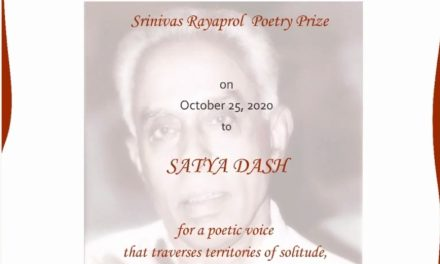 Satya Dash receives the Srinivas Rayaprol Poetry Prize 2020