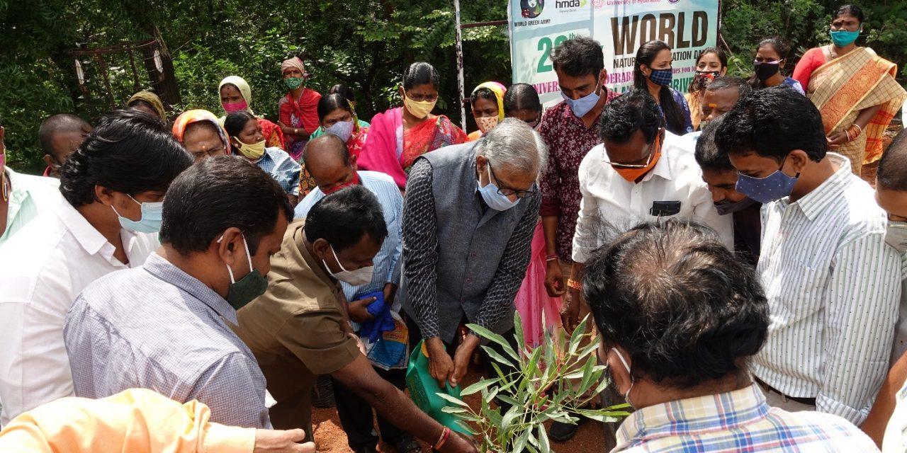 विश्व प्रकृति संरक्षण दिवस के अवसर पर है.वि.वि.में बृहत वृक्षारोपण अभियान