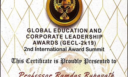 Prof. Ramdas Rupavath selected for Global Education and Corporate Leadership Award