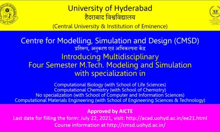 Multidisciplinary M.Tech Modeling and Simulation course introduced at UoH