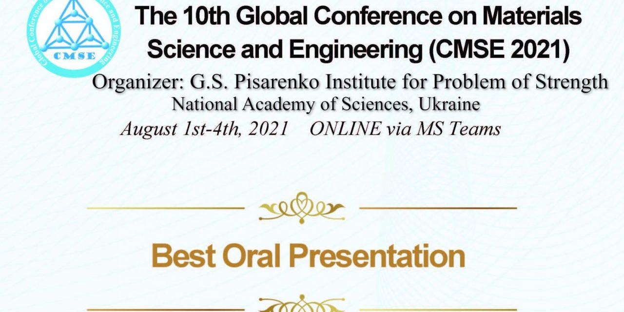 CMSE best oral presentation award for Dr. Pratap Kollu